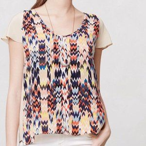 MAEVE | Anthro Multicolored Silk Chevron Blouse M